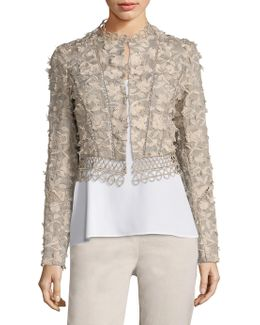 Leanne Embroidered Cropped Jacke