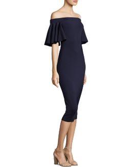 Butterfly-sleeve Off Shoulder Dress