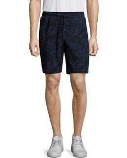 Subtle Camouflage Print Drawstring Shorts