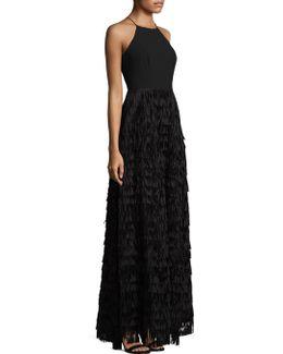 Fringed Halter Dress