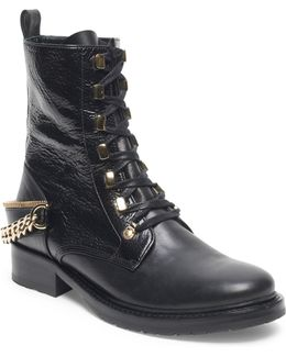 Chain-accented Leather Boots