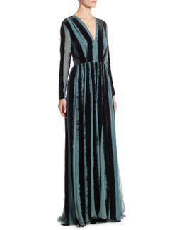 Devore Lace-inset Velvet & Silk V-neck Gown