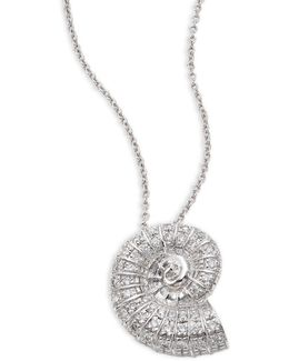 Seashell Diamond & 18k White Gold Pendant Necklace