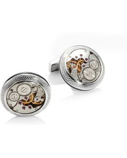 Limited Edition Skeleton Movement Silver Cufflinks