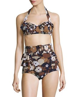 Outline Floral Two-piece Ruffled Bikini