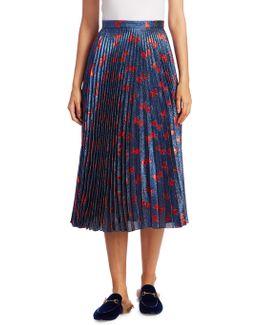 Bow-jacquard Pleated Lamé Skirt