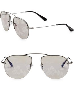 Teddy 55mm Mirrored Pilot Sunglasses