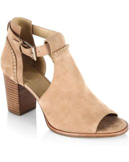 Cameron Cutout Suede Open Toe Booties