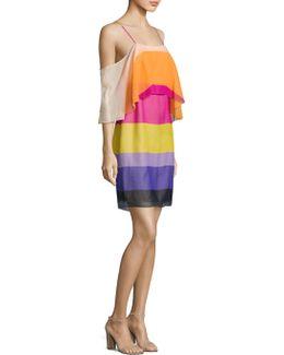 Striped Silk Cold Shoulder Dress