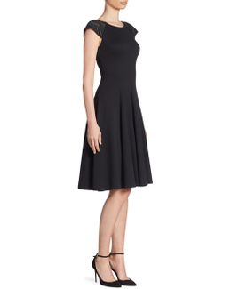 Milano Jersey Beaded Shoulder Fit-&-flare Dress