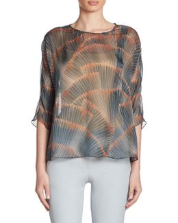 Silk Feather-print Blouse