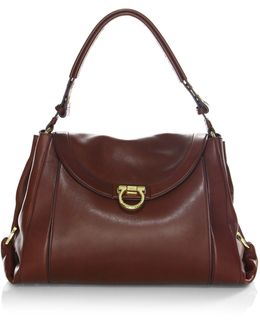 Deep Border Leather Top Handle Bag