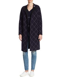 Double-face Wool & Cashmere Windowpane Wrap Coat