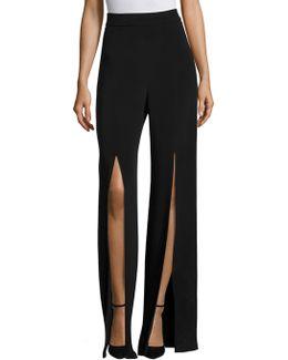 Silk Front Slit Pants