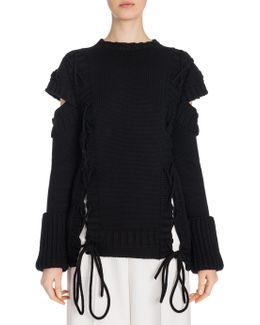 Lace-up Cutout Wool Sweater