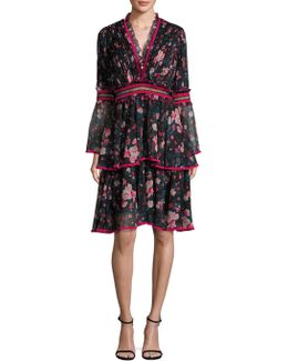 Floral-print Bell Sleeve Dress