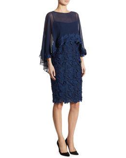 Silk & Lace Cape Sheath Dress
