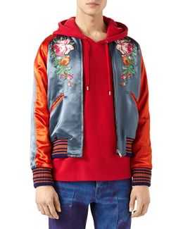 Acetate Bomber Jacket With Appliques