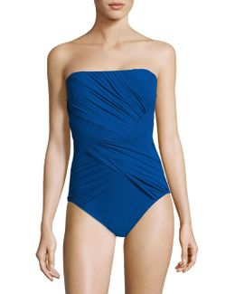 One-piece Wrapped Bandeau Swimsuit