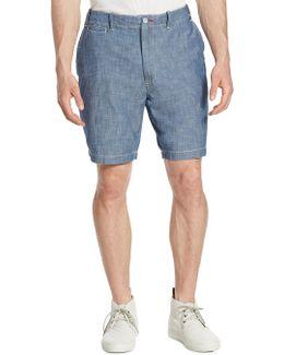 Chambray Cotton Shorts