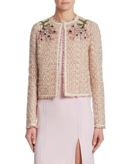 Coral Tweed Embroidered Jacket