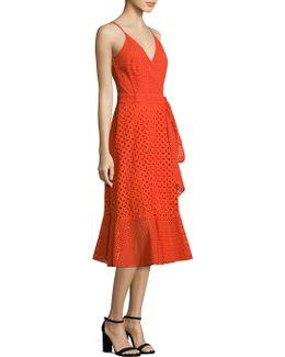 Eyelet Cotton Wrap Dress