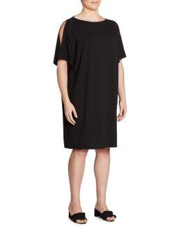 Plus Size Solid Cold Shoulder Shift Dress