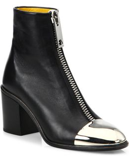 Metal Cap Toe Leather Ankle Boots