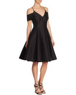 Silk Faille Cold Shoulder Dress