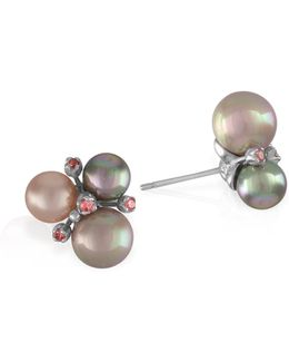 8/10/12mm Pearl & Sterling Silver Earrings