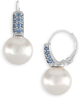 10mm White Pearl & Crystal Drop Earrings
