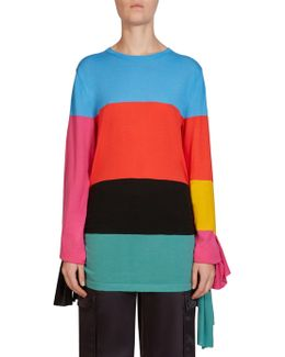 Asymmetric Rainbow Wool Top