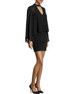 Mockneck V-front Dress