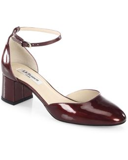 Andrea Patent Leather D'orsay Ankle-strap Pumps