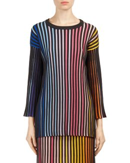 Striped Rib-knit Sweater