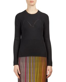 Pointelle-knit Crewneck Sweater