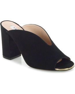 Carmela Suede Block Heel Mules