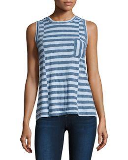 Striped Pocket Cotton Tank Top