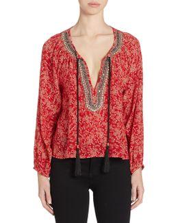 Embellished Floral-print Silk Top
