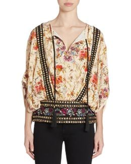 Embroidered Grommet Floral-print Top