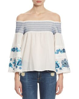 Venice Embroidered Off-the-shoulder Blouse
