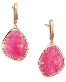 Siren Large Pink Quartz Nugget Earrings
