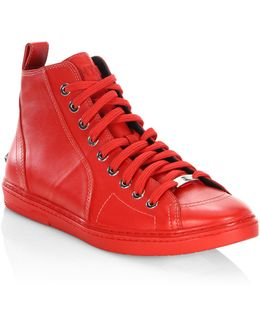 Star Studs Leather High-top Sneakers