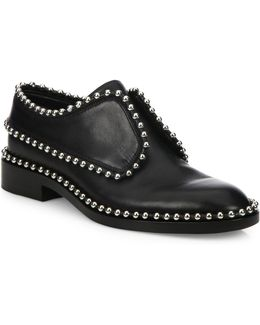 Wendie Leather Embellished Laceless Oxfords