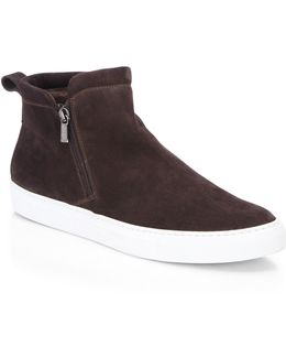 Collection Shearling Lined Side Zip Suede Sneaker
