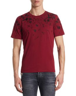 Floral Embroidered Cotton T-shirt