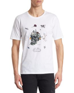 Embroidered Skull Cotton T-shirt