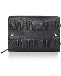 Astor Ruffle Leather Clutch