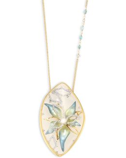 Lucite & Crystal Encased Flower Pendant Necklace
