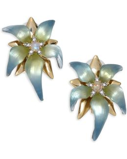 Lucite, Moonstone & Crystal Petal Clip-on Earrings